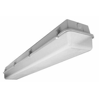 28W Industrial Vaportite Three Light Strip Light in Baked White Enamel
