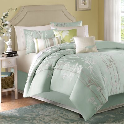 Madison Park Athena 7 Piece Jacquard Comforter Set in Blue