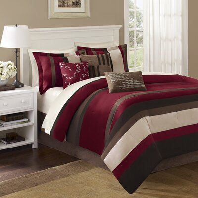 Madison Park Boulder Stripe 7 Piece Comforter Set in Red