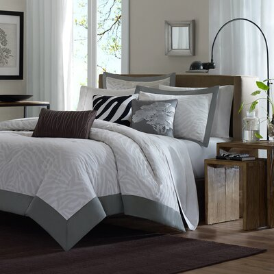 Madison Park Sasha 6 Piece Jacquard Duvet Set in Gray