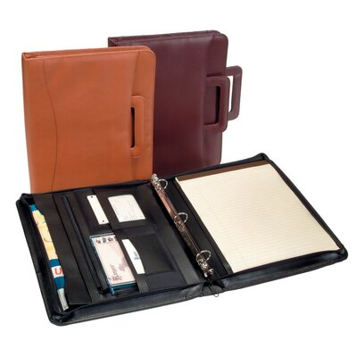Ultra Bonded Leather Zip Around Binder Padfolio