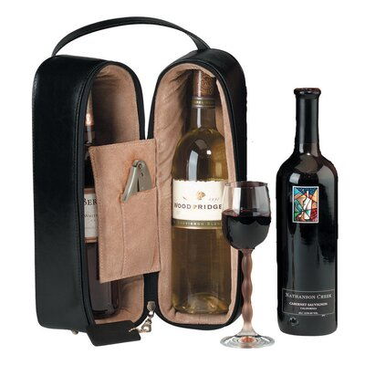 Royce Leather Man Made Leather Double Wine Presentation Case in Black