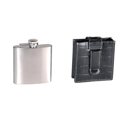 Royce Leather Leather Croco 5 oz. Flask in Black