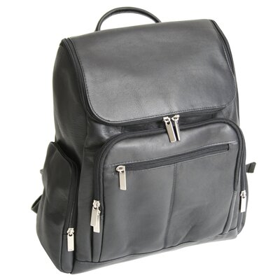 Royce Leather Laptop Backpack in Black