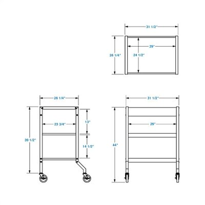Lucasey Mobile Cart with Multi-Position Center Shelf