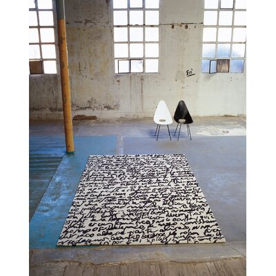 Black On White Manuscrit Rug