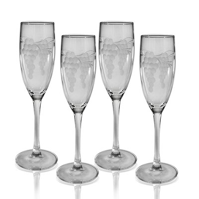 Champagne Flute 5.75 oz. Hand Cut Sonoma Pattern (Set of 4)
