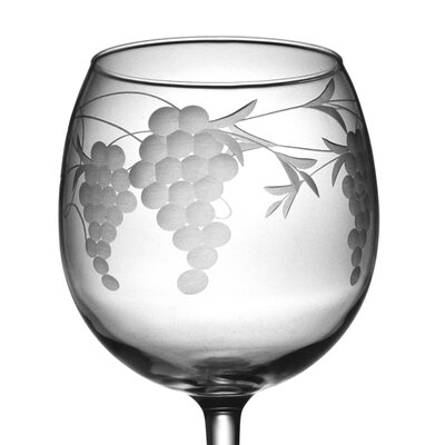 Susquehanna Glass Ballon Red Wine Glass 16 oz. Hand Cut Sonoma Pattern (Set of 4)