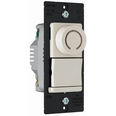 Legrand TradeMaster 700W Decorator Rotary Single Pole/Three Way Dimmer in Light Almond