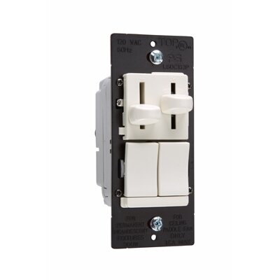 Legrand TradeMaster Slide Single Pole/Three Way Dimmer and Three Speed Fan Control DeHummer Preset in White