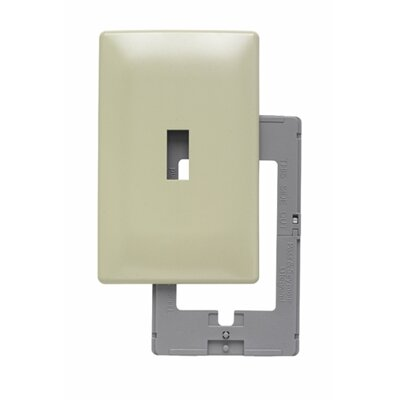 Legrand Single Gang Toggle Opening Screwless Wall Plate in Ivory