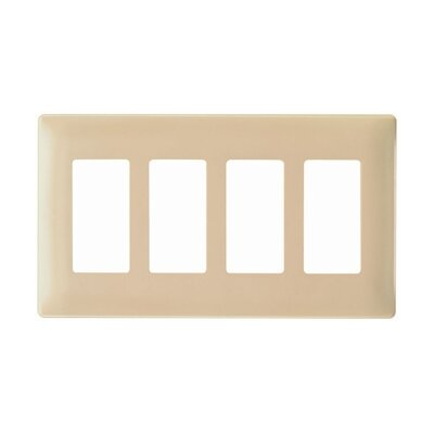 Legrand Four Gang Decorator Screwless Wall Plate in Metal walnut