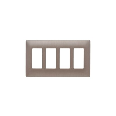 Legrand Four Gang Decorator Screwless Wall Plate in Brushed bronze
