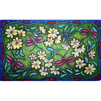 Custom Printed Rugs Flowers and Dragonflies Doormat