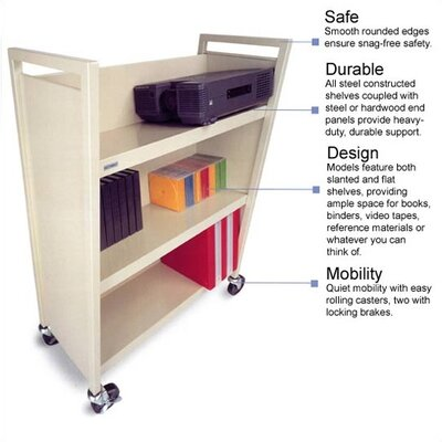 "Bretford Manufacturing Inc Three Shelf Booktruck, 17"" Wide"