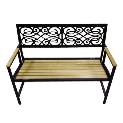 DC America Folding Aluminum and Wood Garden Bench
