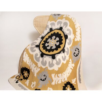 Eco Suzani Cotton Throw Blanket