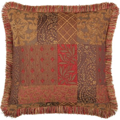Jennifer Taylor Caravan Square Pillow with Brush Fringe, Reversible