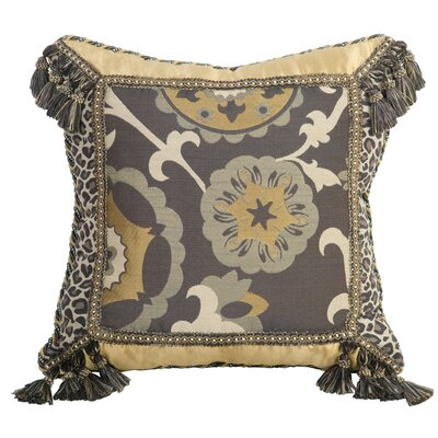 Jennifer Taylor Espresso Synthetic Pillow with Cord , Braid and Tassel Fringe
