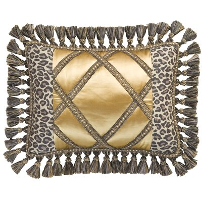 Espresso Synthetic Decorative Pillow with Braid and Tassel Fringe