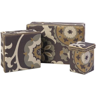 Jennifer Taylor Espresso Rectangle Boxes with Braid (Set of 3)
