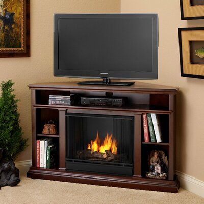 "Real Flame Churchill 51"" Ventless TV Stand with Gel Fuel Fireplace"