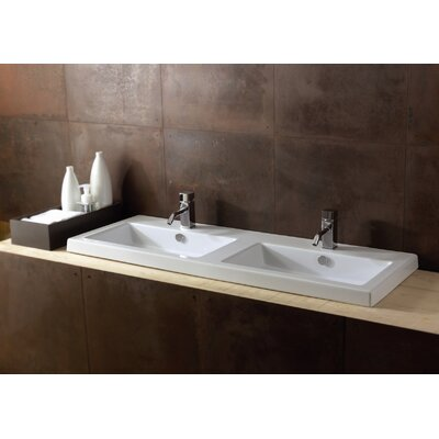 Cangas Ceramic Double Bathroom Sink with Overflow - Art CAN04011
