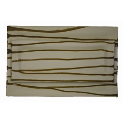 Alex Marshall Studios Narrow Rectangle Platter Brown Stripe
