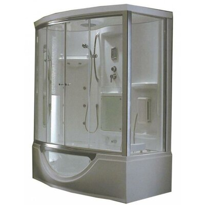 Steam Planet Corp Personal Sliding Door Glass Steam Shower with Whirlpool Bathtub