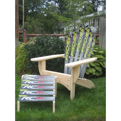 Ski Chair Snow Adirondack Chair and Ottoman