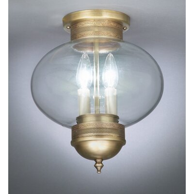 Northeast Lantern Onion 2 Light Sockets No Cage Semi Flush Mount
