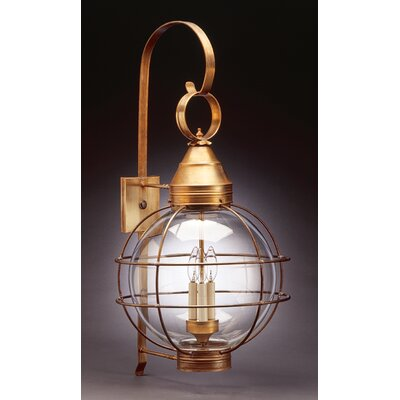 Northeast Lantern Onion 3 Candelabra Sockets Large Caged Wall Lantern