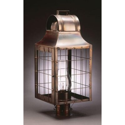 Northeast Lantern Livery 1 Light Chimney Culvert Top H-Rod Wooden Handle Post Lantern