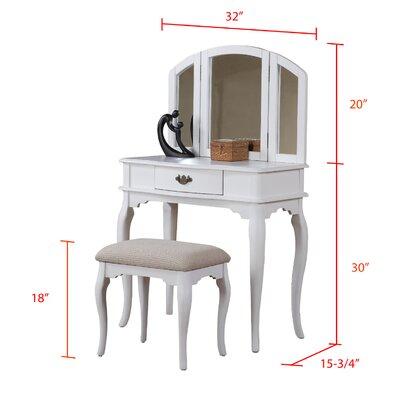 poundex bobkona jaden bedroom vanity set with stool in white