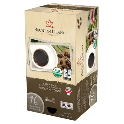 Reunion Island™ Extra Bold Fair Trade and Organic French Roast Single Cup Coffee Pod (Pack of 96)