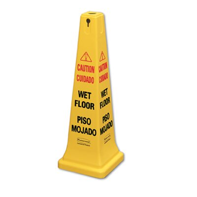 "Rubbermaid Commercial Products 36"" Safety Cone with Multi-Lingual ""Caution Wet Floor"" Logo"