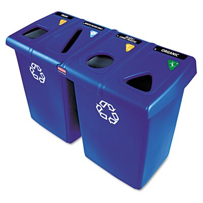 Rubbermaid Commercial Products Plastic Glutton Recycling Station in Blue