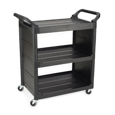 Rubbermaid Commercial Products Service Cart with 3 Shelves in Black