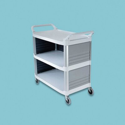Rubbermaid Commercial Products Xtra Utility Cart with 3 Shelves in Off-White