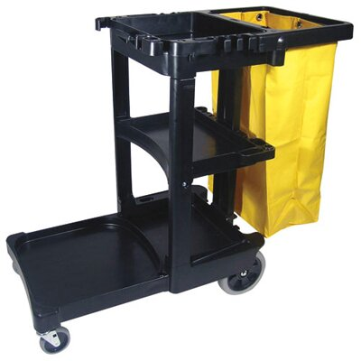 Rubbermaid Commercial Products Multi-Shelf Cleaning Cart in Black