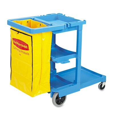 Rubbermaid Commercial Products Multi-Shelf Cleaning Cart with 3 Shelves in Blue