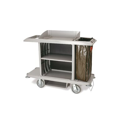Rubbermaid Commercial Products Full-Size Housekeeping Cart with 1 Shelf in Platinum