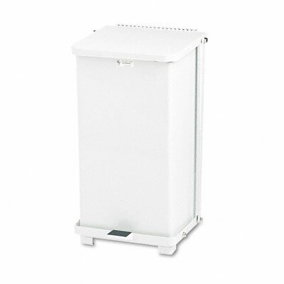Rubbermaid Commercial Products Defenders Biohazard Step Can, Square, Steel, 12gal, White
