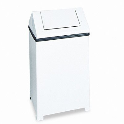 Rubbermaid Commercial Products Fire-Safe Swing Top Receptacle, Square, Steel, 14gal, White