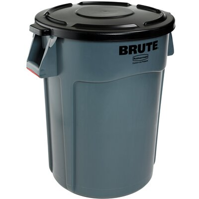 Rubbermaid Commercial Products Vented Round Brute Flat Top Lid in Gray
