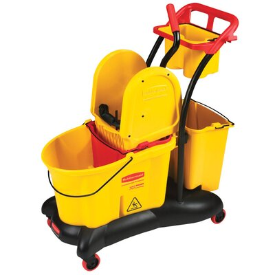 Rubbermaid Commercial Products WaveBrake Mopping Trolley Down-Press Bucket / Wringer Combo in Yellow
