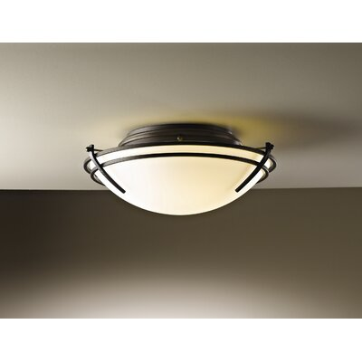 Hubbardton Forge Tryne 2 Light Flush Mount in Dark Smoke
