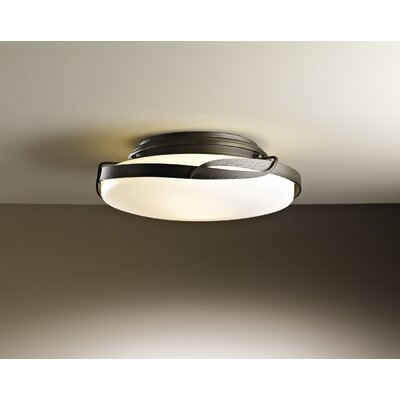 Hubbardton Forge Flora 2 Light Semi-Flush Mount in Dark Smoke