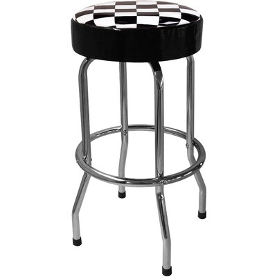 "On The Edge Marketing Checker Flag 29.5"" Bar Stool with Cushion"