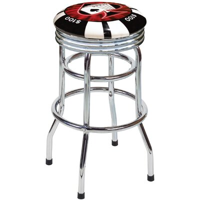 "On The Edge Marketing Poker Chip 30.5"" Backless Chrome Swivel Barstool"